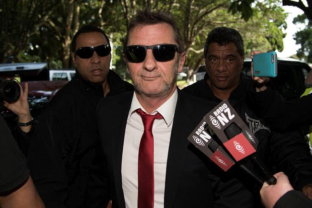 Former AC/DC drummer Phil Rudd arrives to face charges at the District  Court in Tauranga, New Zealand on April 21, 2015.