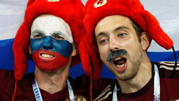 Russian fans look on prior the quarterfinal match between Russia and Croatia at the 2018 soccer World Cup in the Fisht Stadium, in Sochi, Russia, Saturday, July 7, 2018.(AP Photo/Pavel Golovkin)