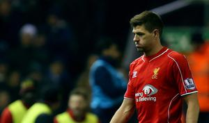 Liverpool's Steven Gerrard is substituted during the Barclays Premier League match at Anfield, Liverpool