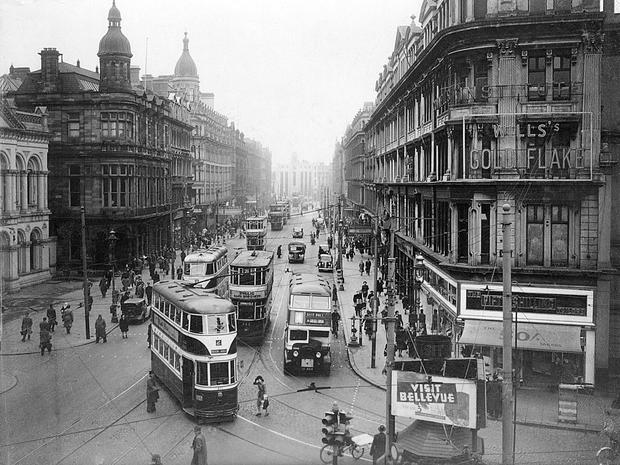 Royal Avenue, Belfast, from Castle Place looking towards North Street (from first floor level.)  16/3/1948