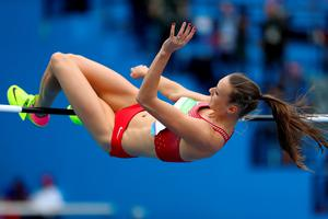 RIO DE JANEIRO, BRAZIL - AUGUST 12:  Laura Ikauniece-Admidina of Latvia competes during the Women's Heptathlon High Jump on Day 7 of the Rio 2016 Olympic Games at the Olympic Stadium on August 12, 2016 in Rio de Janeiro, Brazil.  (Photo by Ian Walton/Getty Images)