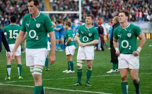 ROME, ITALY - MARCH 16:  Brian O'Driscoll of Ireland walks off after losing to Italy during the RBX Six Nations match between Italy and Ireland at Stadio Olimpico on March 16, 2013 in Rome, Italy.  (Photo by Tom Shaw/Getty Images)