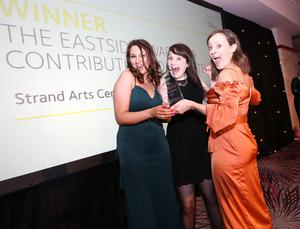 Eastside Awards Winners 2019   CAPTIONS  Contribution to the Arts Mimi Turtle and Johanna Leech of Strand Arts Centre receives Eastside Award for Contribution to the Arts from Geri Wright of sponsor Phoenix Natural Gas