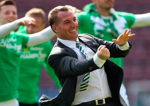 Celtic Manager Brendan Rodgers  celebrates at full time during the Ladbrokes Premiership match between Hearts and Celtic at Tynecastle Stadium on April 2, 2017 in Edinburgh, Scotland. (Photo by Ian MacNicol/Getty Images)