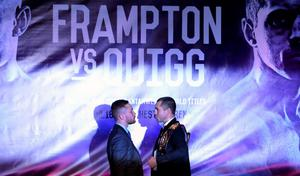 Carl Frampton (left) and Scott Quigg during a press conference at the Europa Hotel, Belfast. PRESS ASSOCIATION Photo. Picture date: Wednesday November 18, 2015. See PA story BOXING Frampton. Photo credit should read: Niall Carson/PA Wire