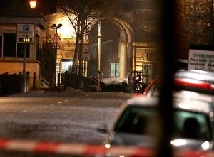 The scene of a suspected car bomb on Bishop Street in Londonderry. Steven McAuley/PA Wire