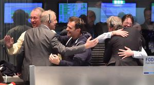 Scientists  in the main control room at the ESA after the first unmanned spacecraft Philae landed on the comet called 67P/Churyumov-Gerasimenko, at the control centre in Darmstadt, Germany, Wednesday, Nov. 12, 2014.