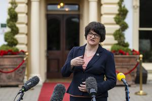 First Minister Arlene Foster during a press conference at the Galgorm Spa and Golf Resort (Liam McBurney/PA)