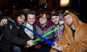 "Pacemaker press 16/12/2015 Hundreds of Star Wars fans queue outside the Movie House on the Dublin road in order to see the latest  film "" The Force Awakens"". Pictured are Declan Burns,Johnny McCoy,Caoimhin Wallace,Siobhan Keatings and Brian McCoyle .Picture Mark Marlow/pacemaker press"