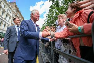 Press Eye - Belfast - Northern Ireland - 22nd May 2019 -   The Prince of Wales and  Duchess of Cornwall are pictured meeting people in Belfast City Centre as part of their 2 day visit to Northern Ireland.   Picture Matt Mackey / Press Eye.