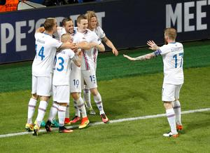 Iceland players celebrate their equalizer goal during the Euro 2016 Group F soccer match between Portugal and Iceland at the Geoffroy Guichard stadium in Saint-Etienne, France, Tuesday, June 14, 2016. (AP Photo/Michael Sohn)