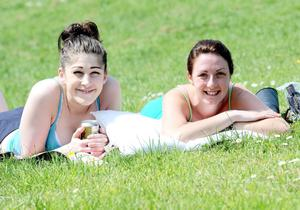 Presseye.com -6th June 2013 Harriet McDonald and Alison McIlwaine pictured at Crawfordsburn Country park enjoying the soaring temperatures that have arrived for the weekend. Photograph by Stephen Hamilton