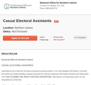 The advertisement as it appears in the NI Jobfinder site