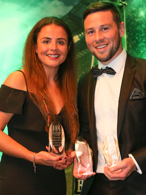 Top two: Ulster Players of the Year Larissa Muldoon and John Cooney at last night's awards ceremony at La Mon House