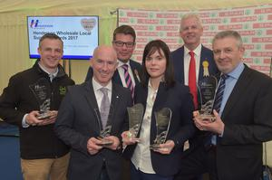 Winners of the Henderson Wholesale Local Supplier Awards, including Daily Bake, Around Noon, Genesis Craft and Moy Park, are pictured with Fresh Foods Director Neal Kelly and Sales & Marketing Director Paddy Doody from Henderson Wholesale. The awards took place today (Friday 12 May) at Balmoral Show, rewarding the produce and practices of the food producers, farmers and growers in Northern Ireland. Photo by Simon Graham