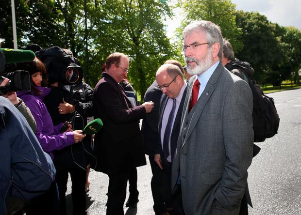 Sinn Fein president Gerry Adams (right) at the National University of Ireland, Galway where he will meet The Prince of Wales and The Duchess of Cornwall at a welcome reception.