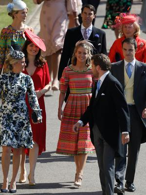 WINDSOR, UNITED KINGDOM - MAY 19:  British actress Cressida Bonas (C) arrives for the wedding ceremony of Britain's Prince Harry and US actress Meghan Markle at St George's Chapel, Windsor Castle on May 19, 2018 in Windsor, England.  (Photo by Odd ANDERSEN - WPA Pool/Getty Images)