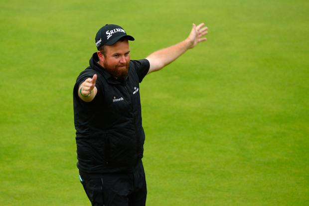 PORTRUSH, NORTHERN IRELAND - JULY 21: Open Champion Shane Lowry of Ireland celebrates on the 18th green during the final round of the 148th Open Championship held on the Dunluce Links at Royal Portrush Golf Club on July 21, 2019 in Portrush, United Kingdom. (Photo by Francois Nel/Getty Images)