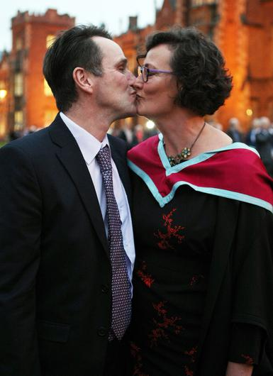 Mandatory Credit - Picture by Freddie Parkinson/Press Eye © Thursday 8th December 2016 Graduations take place at Queens University in Belfast. Stephen Hunter from Finaghy and his wife Siobhan.