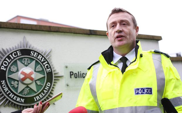 Superintendent Gordon McCalmont, District Commander, Foyle, speaking at the PSNI press conference following the discovery of a bomb under the car of a serving policeman. ©/Lorcan Doherty Press Eye  Photography - 22nd February January 2017.