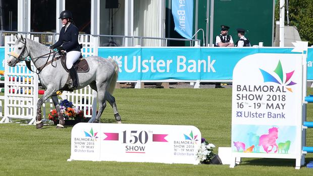 Press Eye - Belfast - Northern Ireland - 16th May 2018  First day of the 2018 Balmoral Show, in partnership with Ulster Bank, at Balmoral Park.  Who jumping in the parade ring.   Picture by Jonathan Porter/PressEye