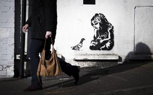 "A ""Banksy type painting"" discovered on a wall in Dundonald on March 2nd 2020 (Photo by Kevin Scott for Belfast Telegraph)"