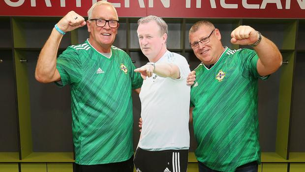 Brian White and Alan McAleer at the launch of the new Northern Ireland kit at Windsor Park (Jonathan Porter/PressEye)