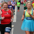 Siobhan Grant (left) and fellow competitor Caroline Morris taking part in the Belfast City Marathon last Sunday