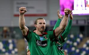 Press Eye - Belfast, Northern Ireland - 31st July 2020 - Photo by William Cherry/Presseye  Glentoran's Keith Cowan celebrate winning the Sadler's Peaky Blinder Irish Cup after defeating Ballymena United during Friday nights Final at the National Stadium at Windsor Park, Belfast.    Photo by William Cherry/Presseye