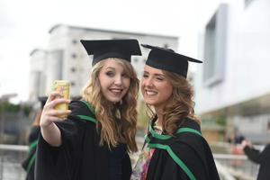 Graduating from Ulster University today are Maeve Byrne, Glengormley and Cherith Anderson, Sixmilecross. Pic by Harrison Photography