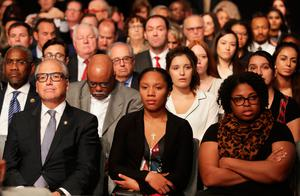 LAS VEGAS, NV - OCTOBER 19:  Guest and attendees wait for the start of the third U.S. presidential debate at the Thomas & Mack Center on October 19, 2016 in Las Vegas, Nevada. Tonight is the final debate ahead of Election Day on November 8.  (Photo by Chip Somodevilla/Getty Images)