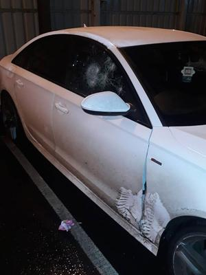Police posted pictures of one of the damaged cars. Pic PSNI.