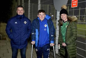 12th November 2020 Northern Ireland fans pictured as they arrive at the National Stadium in Belfast ahead of tonights game against Slovakia Keith Boyd ,Bobby Burns and Sarah Winslow Mandatory Credit : Stephen Hamilton