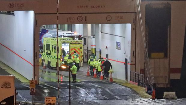 The scene at Rosslare Europort in Co Wexford, after 16 people were found alive in the back of a truck (Niall Carson/PA)