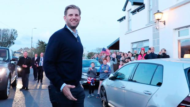Eric Trump, the son of US President Donald Trump, pours drinks and meets locals in the village of  Doonbeg in County Clare, on the first day of US President Donald Trump's visit to the Republic of Ireland. PRESS ASSOCIATION Photo. Picture date: Wednesday June 5, 2019. See PA story IRISH Trump. Photo credit should read: Niall Carson/PA Wire