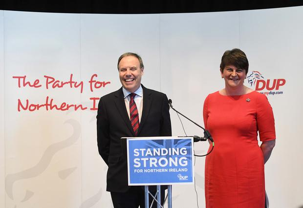 Pacemaker Press 31/5/2017 DUP Leader Arlene Foster and Deputy leader Nigel Dodd during the DUP  Manifesto Launch  at The Old Courthouse in Antrim on Wednesday morning ahead of the General election on the 8th of June. Pic Colm Lenaghan/ Pacemaker