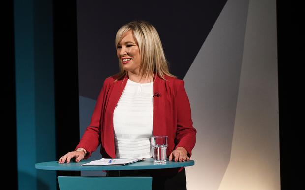 Pacemaker Press 5/6/17 Sinn Fein's Michelle O'Neill  during  A television debate from the five main parties which was recorded at UTV in Belfast. Pic Pacemaker
