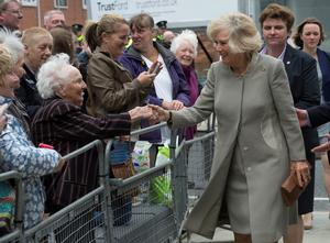 BELFAST, NORTHERN IRELAND - MAY 21:  Patron of The Big Lunch Camilla, Duchess of Cornwall greets well wishers on May 21, 2015 in Belfast, Northern Ireland. Prince Charles, Prince of Wales and Camilla, Duchess of Cornwall will attend a series of engagements in Northern Ireland following their two day visit in the Republic of Ireland.  (Photo by Arthur Edwards  - WPA Pool/Getty Images)