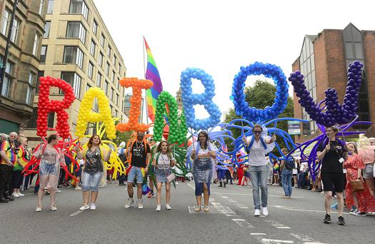 Thousands of people have turned out in Belfast for the annual Pride parade. Picture By: Arthur Allison: Pacemaker