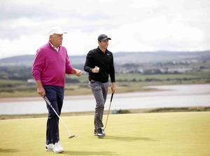 PressEye Belfast - Northern Ireland - 5th July 2017  Rory McIlroy and Dermot Desmond on the 6th green during the Pro-Am at the Dubai Duty Free Irish Open Golf Championship at Portstewart Golf Club. Picture by Peter Morrison/PressEye.com   Picture by Peter Morrison/PressEye.com