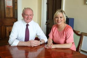 FILE PICTURE Press Eye - Belfast - Northern Ireland - 24th May 2016 -  Deputy First Minister Martin McGuinness is pictured at Parliament Buildings, Stormont with his new Minister Michelle O'Neill. Photo by Kelvin Boyes / Press Eye.