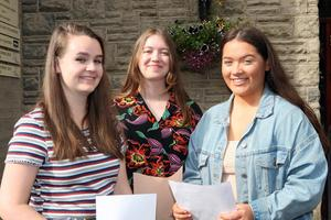 Mandatory Credit - Picture by Freddie Parkinson/Press Eye © Thursday 15 August 2019 Ballyclare High School A Level Results on the increase once again in Ballyclare High School. Faith Thompson 4A, Erin Manson 3A B and Ellen White 4A.