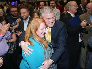 Counting begins at the Titanic Convention centre in east Belfast for the North, East, South West constituencies in the 2016 Northern Ireland Assembly elections.  Alliance Party's candidate for east Belfast Naomi Long is congratulated after it is announced she has made the quota.  Picture by Jonathan Porter/PressEye
