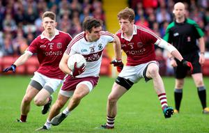 Big chance: Benny Heron of Ballinascreen in action against Slaughtneil