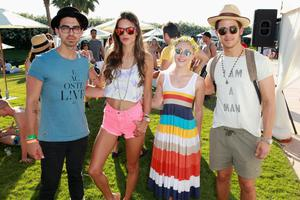 THERMAL, CA - APRIL 13:  (L-R) Joe Jonas, model Alessandra Ambrosio, actress Annasophia Robb and Nick Jonas attend LACOSTE L!VE Desert Pool Party In Celebration Of Coachella on April 13, 2013 in Thermal, California.  (Photo by Joe Scarnici/Getty Images for LACOSTE)