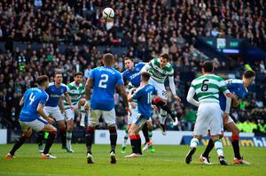GLASGOW, SCOTLAND - APRIL 17:  Erik Sviachenko of Celtic scores their first goal during the William Hill Scottish Cup semi final between Rangers and Celtic at Hampden Park on April 17, 2016 in Glasgow, Scotland.  (Photo by Jeff J Mitchell/Getty Images)