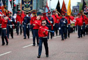 Bandsmen and Orange Order members take part in an Orange Order parade in  Belfast, as part of the annual Twelfth of July celebrations, marking the victory of King William III's victory over James II at the Battle of the Boyne in 1690. PRESS ASSOCIATION Photo. Picture date: Friday July 12, 2019. See PA story ULSTER Twelfth. Photo credit should read: Brian Lawless/PA Wire