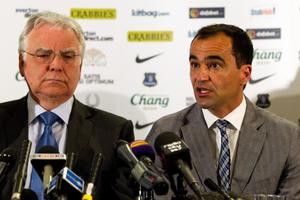 LIVERPOOL, ENGLAND - JUNE 5: New Everton manager Roberto Martinez (R) speaks as Everton Chairman Bill Kenwright watches on during the Everton FC press conference at Goodison Park on June 5, 2013 in Liverpool, England. (Photo by Paul Thomas/Getty Images)