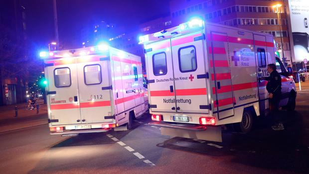 BERLIN, GERMANY - DECEMBER 19:  Ambulances are parked near the area after a lorry truck ploughed through a Christmas market on December 19, 2016 in Berlin, Germany. Several people have died while dozens have been injured as police investigate the attack at a market outside the Kaiser Wilhelm Memorial Church on the Kurfuerstendamm and whether it is linked to a terrorist plot.  (Photo by Sean Gallup/Getty Images)