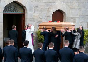 Anthony Foley's coffin is carried into St Flannan's Church, Killaloe, Co. Clare.